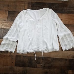 ASTR Medium White Long Sleeve Boho Knit Top 0558